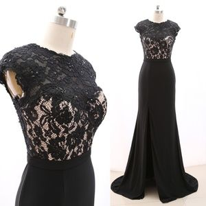 Lace Jersey Black Prom Dress Formal Evening Gown
